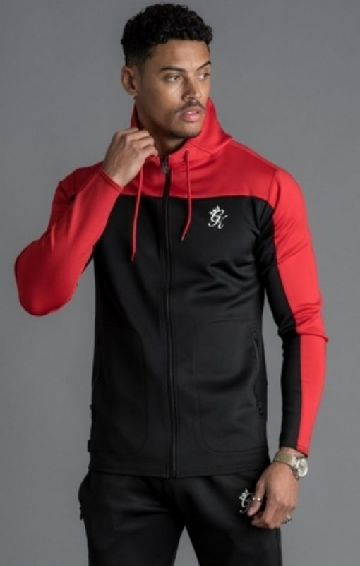 gym king capo panel poly tracksuit top black red p15854