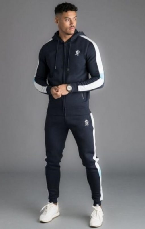 gym king capone zip through tracksuit top navy nights p16586