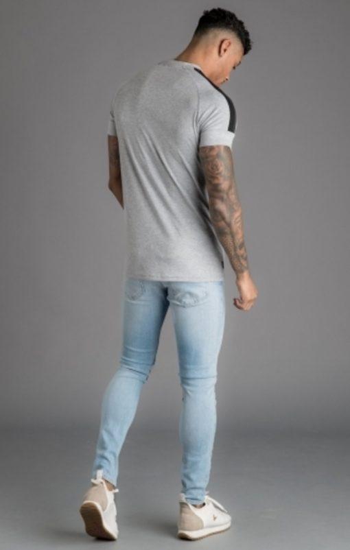 gym king core plus t shirt grey marl black p16373