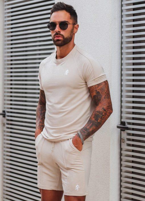 Signature Latte Twin Set T Shirt Shorts Men Gym