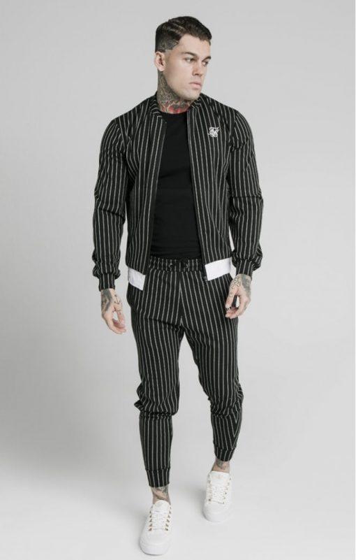siksilk pinstripe bomber jacket black white p5219 50506 medium