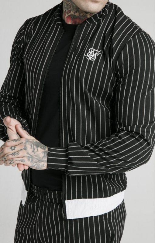 siksilk pinstripe bomber jacket black white p5219 50507 medium