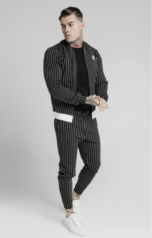 siksilk pinstripe bomber jacket black white p5219 50508 medium