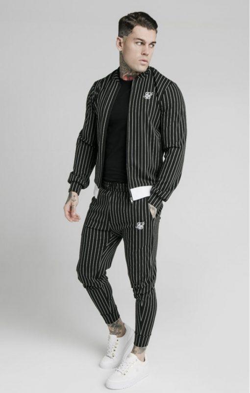siksilk pinstripe bomber jacket black white p5219 50509 medium