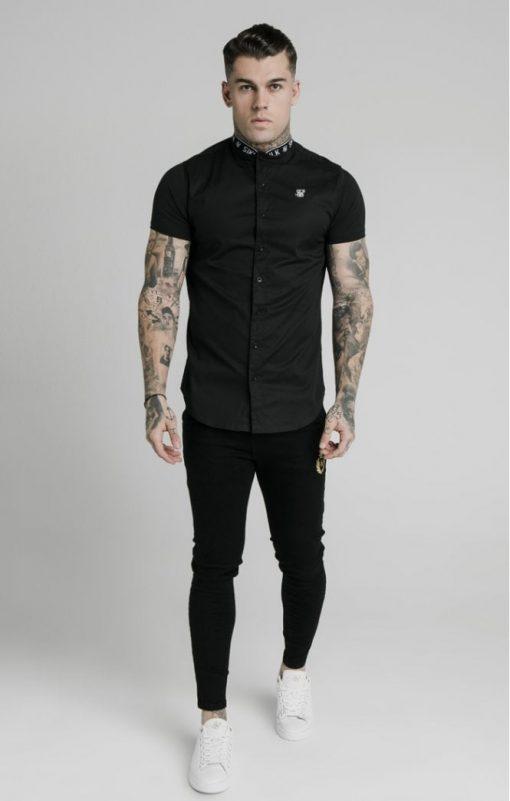 siksilk s s tape collar shirt black p5358 52400 medium
