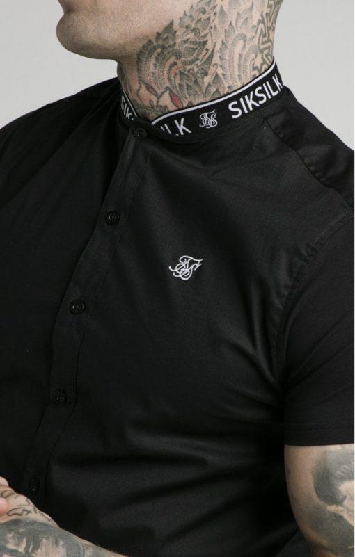 siksilk s s tape collar shirt black p5358 52401 medium