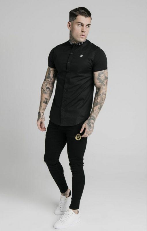 siksilk s s tape collar shirt black p5358 52402 medium