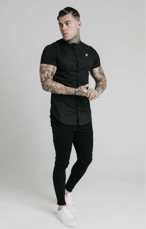 siksilk s s tape collar shirt black p5358 52403 medium