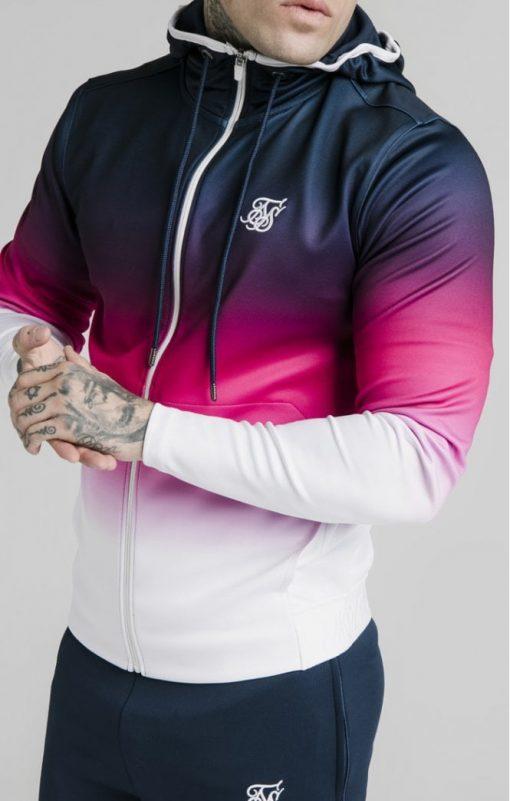 siksilk tri fade agility zip through hoodie navy pink white p5038 55392 medium