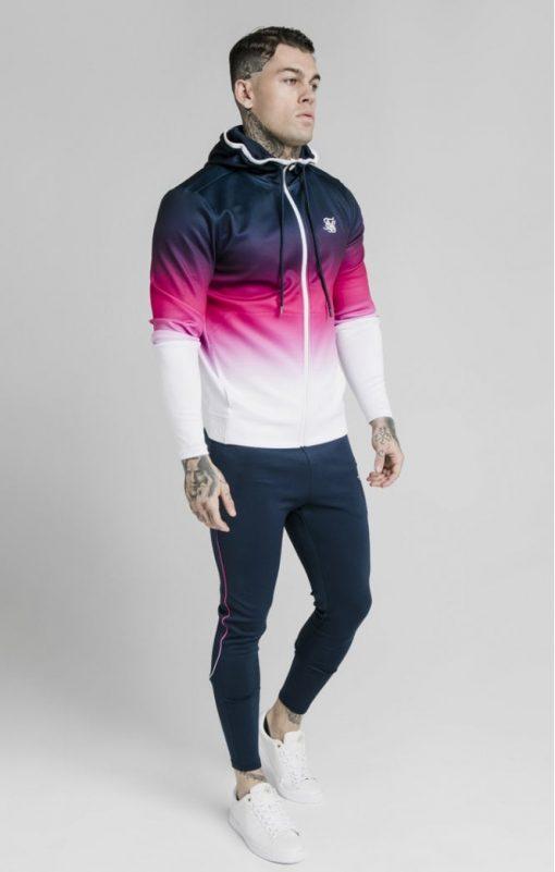 siksilk tri fade agility zip through hoodie navy pink white p5038 55393 medium