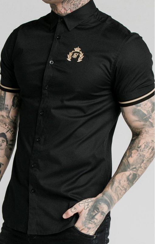 siksilk s s prestige inset cuff shirt black p5395 52929 medium
