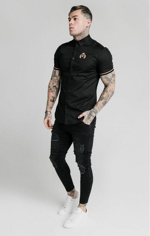siksilk s s prestige inset cuff shirt black p5395 52930 medium