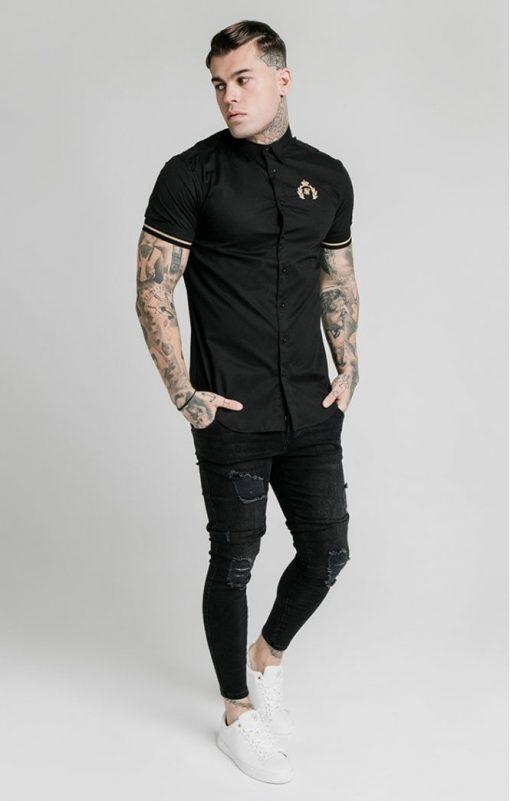 siksilk s s prestige inset cuff shirt black p5395 52931 medium