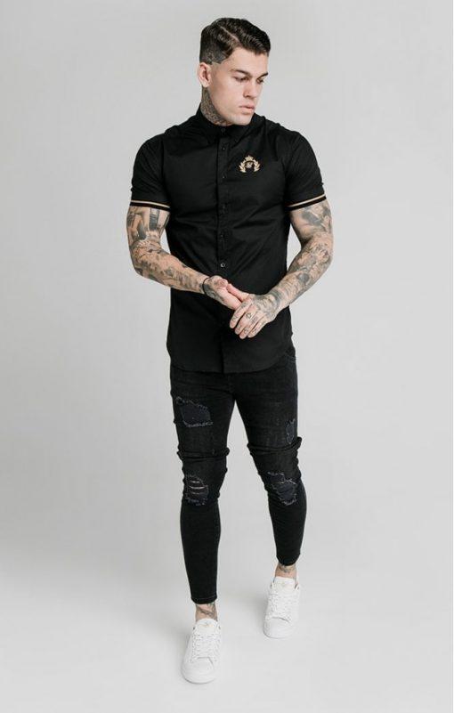 siksilk s s prestige inset cuff shirt black p5395 52932 medium