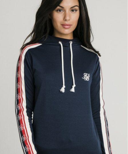 siksilk classic tape longline hoodie navy p5323 51906 medium