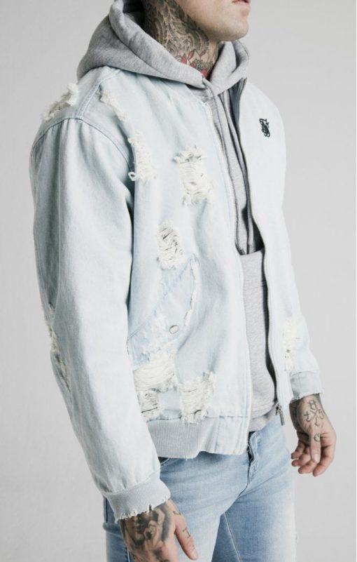 siksilk distressed denim bomber jacket light blue p5238 50743 medium