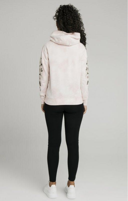 siksilk tye dye floral overhead hoodie pink p5193 50298 medium