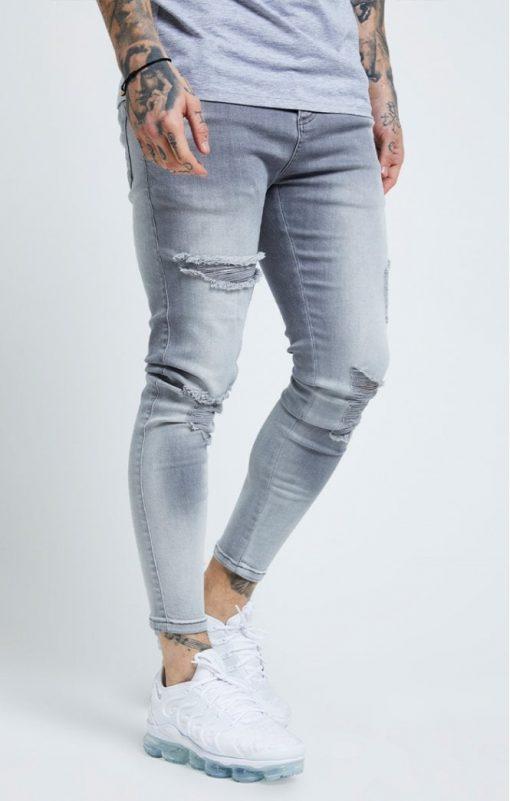 siksilk distressed skinny jeans washed grey p6081 61033 medium