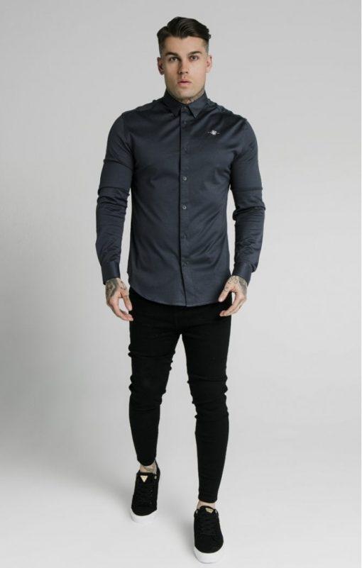 siksilk l s cotton shirt navy p5554 54998 medium