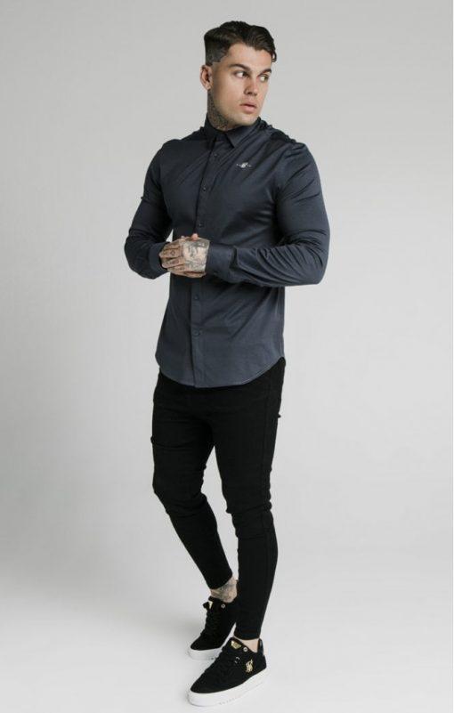 siksilk l s cotton shirt navy p5554 55000 medium