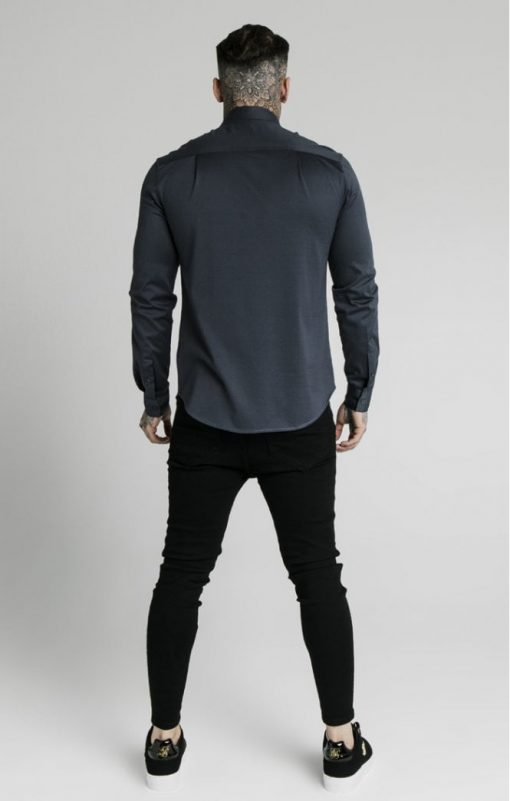siksilk l s cotton shirt navy p5554 55001 medium
