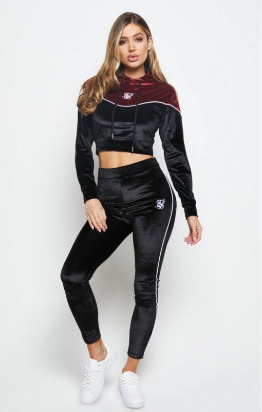 siksilk velour piping hoodie black burgundy p5632 56153 medium