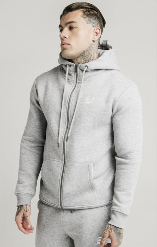 siksilk zip through funnel neck hoodie grey marl p3753 32408 medium
