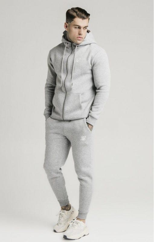siksilk zip through funnel neck hoodie grey marl p3753 32410 medium