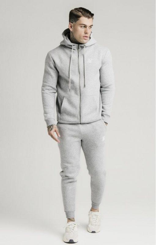siksilk zip through funnel neck hoodie grey marl p3753 32411 medium