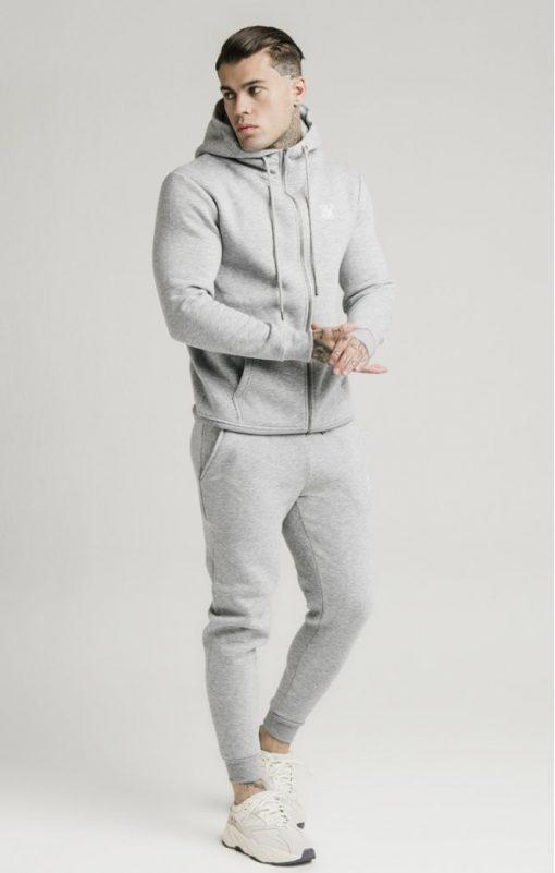 siksilk zip through funnel neck hoodie grey marl p3753 32412 medium